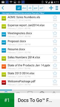 Docs To Go™ Free Office Suite app screenshot 1